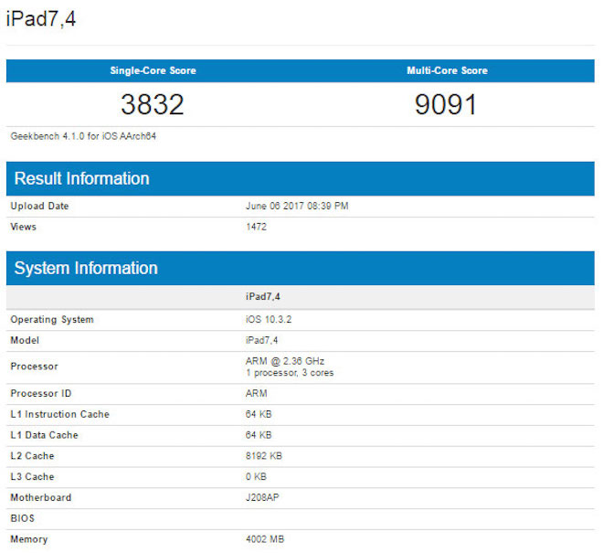 New iPad Pro to be very powerful.  In Geekbench test is confirmed